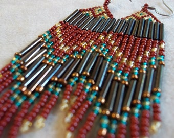 Rust, teal and gold seed bead fringe earrings statement earrings, colorful earrings, boho earrings, bead fringe earrings, bold earrings,