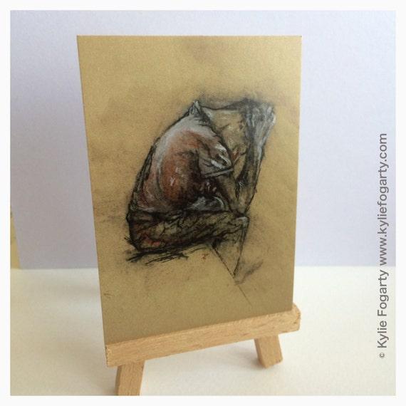 ACEO - Miniature Portrait Drawing - Charcoal and Conte - Drawing of a seated man - black, white and brown toned art print - ACEO