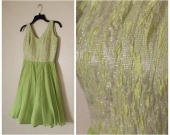 Vintage 1950s dress chartreuse brocade chiffon party dress open back size small medium