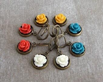 Small Rose Earrings .. dangle earrings, small earrings, flower earrings, gift for mum, sister, flower girl, flower earrings