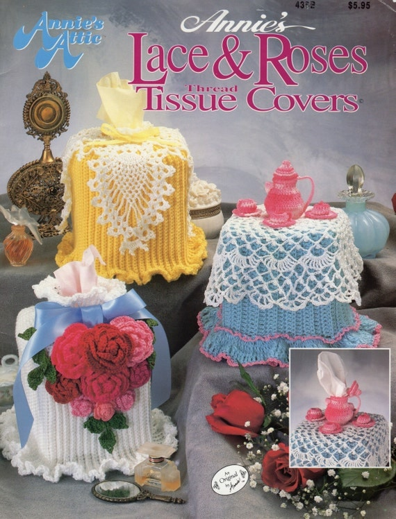 Crochet Lace Book Cover : Lace roses tissue covers crochet pattern book box