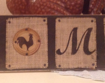 Rooster Home Burlap Upcycled Wood Sign. Housewarming Gift. Country Home. Roosters. Chickens. Cottage Chic. Burlap Sign. Handmade. Home Decor