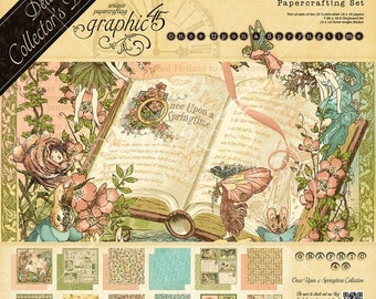 Graphic 45 Springtime Deluxe Collection, Includes 2 Sets of 12 Double Sided Papers (24 total), 1-Set of Chipboard Tags, 1-Set Of Stickers