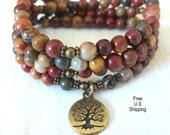 Celebrate Life 108 Picasso Jasper, Tree of life, Mala Bracelet, Necklace, Reiki charged, Buddhist Rosary, Prayer beads, Gemstone, mala beads