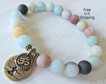 Calming Amazonite, healing bracelet, Tree of life, Om bracelet, Yoga Bracelet, Meditation bracelet, Reiki, wrist mala, mala beads, energy