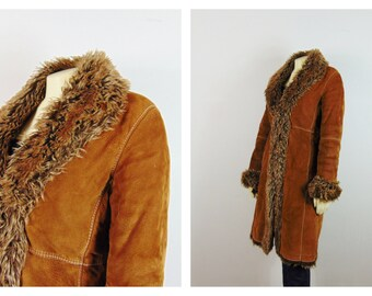 Vintage Coat 70s Marvin Richards Heavy Faux Fur Lined Suede 3/4 Length Winter Coat  Fur Collar & Cuffs Size S - M