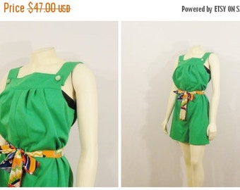 SALE Vintage Playsuit Romper Green Overalls 60s 70s Mad Men Short Modern Size Small to Medium