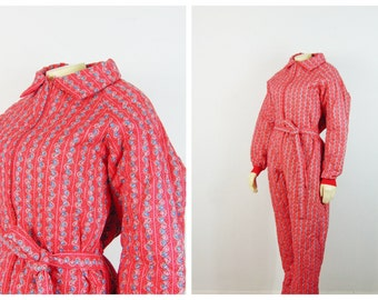 Vintage Pajamas Jumpsuit Red Quilted PJs Red Floral Stretch Waist Attached Waist Size Large Modern Medium to Large