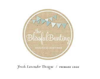 Custom Logo Design Premade Logo and Watermark for Photographers and Small Businesses Burlap Round Frame with Bunting Shabby Chic