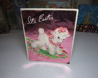 Colorful 1940's-50's easter card bright pink colored foil accent with die cut lamb graphics pop up bunny rabbit and lamb inside