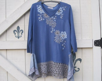 L Bohemian sweater, blue beaded sweater, Lagan style sweater, Romantic Ice blue, shimmery beaded sweater, L