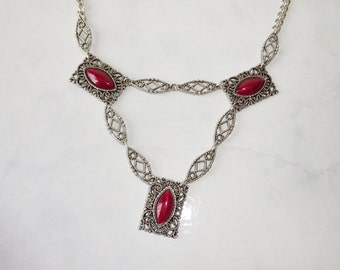 Vintage Runway Necklace Long Statement Necklace Silver Filigree