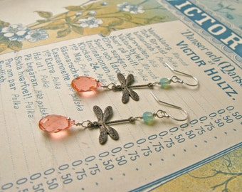 Garden earrings in rosy peach/pacific opal