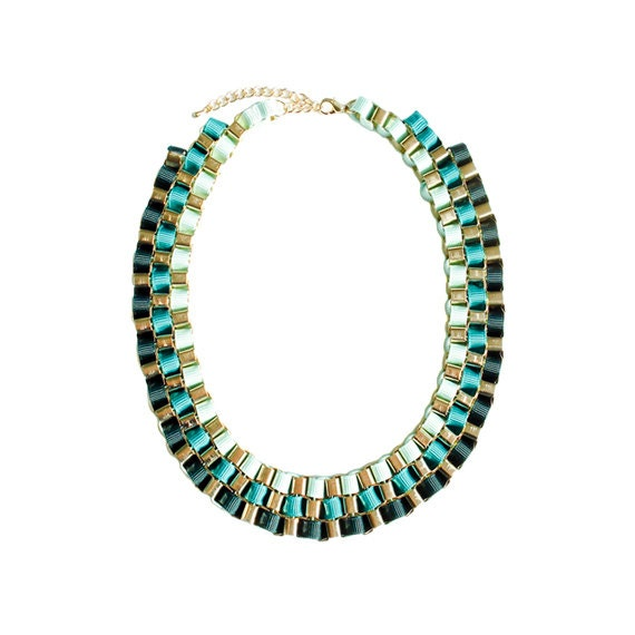 Color Block Box Chain Necklace - Teal