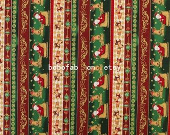 "2288  - 1 yard Cotton fabric - Stripe,Bronzing Santa Claus and dog (135cmx91.44cm,53""x36"")"