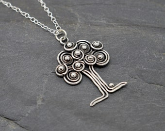 Tree of life necklace in sterling silver celtic triple spiral apple tree