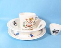 Vintage Brendan Erin Stone Childs China Set - Little Bo Beep 4 Piece China Set