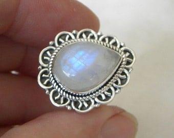 Moonstone Ring Handmade Ring Rainbow Moonstone Blue 16x12mm Gemstone Ring Sterling Silver Size 8 Take 20% Off Women's Blue Moonstone Jewelry