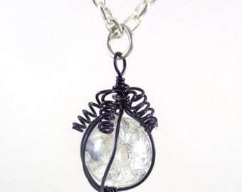 Purple Wire Wrapped Fried Marble Pendant Necklace on Silver Chain