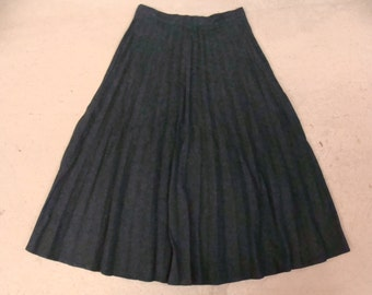 "dark green SOFTLY PLEATED SKIRT wool blend high waist midi 25"" waist"