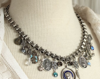Assemblage Necklace, Collected Blessings, medals and bling