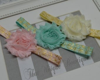 SALE SALE...Set of Three...Baby Girl Headbands...Pink Ivory and Mint...Photography Props...Shabby Rosettes...Gold Scroll Headbands