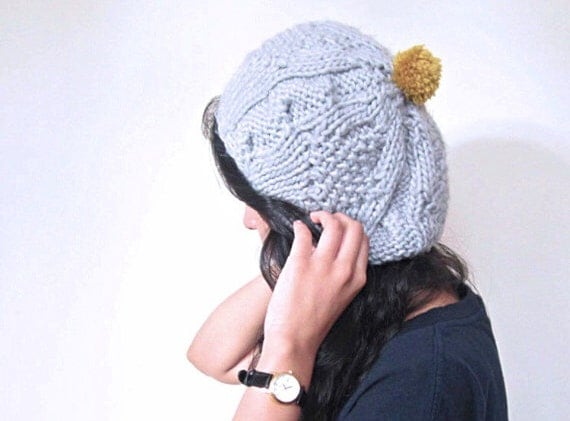 Grey knitted hat with mustard pompom, unisex, handmade, hand knitted