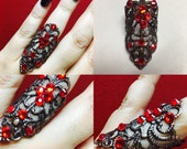 Candy apple red knuckle ring