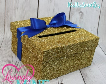 Cardbox -  Glitter Gold and Royal Blue Gift Money Box for Any Event - Royal Baby Shower, Wedding, Bridal Shower, Birthday Party, Sweet 16