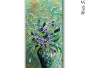 """For csmdvd ONLY... Large Teal Abstract Painting.Palette Knife.Metallic Textured Painting.Turquoise Vase.Teal wall decor 48""""x18"""" - by Nata S."""