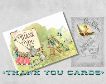 Printed Beatrix Potter Thank You Card - Custom Folding Thank You Note Card  with Envelope - Storybook Baby Shower
