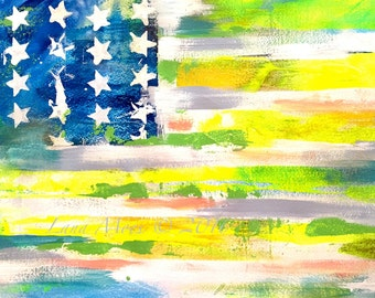 American Flag New ABSTRACT Painting - ABSTRACT EXPRESSIONISM Modern Painting - Lana Moes Art - Modern Art - Patriotic Decor - Art Collector