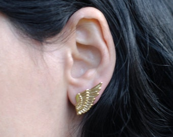 Gold Wing Earrings , Feather Earrings , Wing Studs , Feather Studs , Wing Jewelry , Angel Wing Post Earrings , Modern Earrings ,Gift for Her