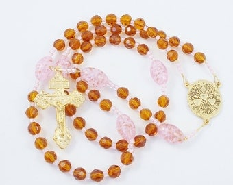 Holy Family Rosary, Pink & Brown Glass Three Hearts Wire Rosary - Sacred, Immacultate, and Chaste Hearts of Jesus, Mary, and Joseph Center