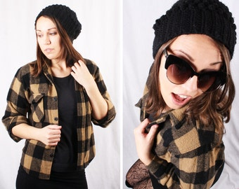 Vintage 1970s Checkered Wool Jacket / Size Small