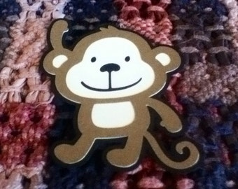 Cute Monkey Die Cut 5 Inches Set of Five