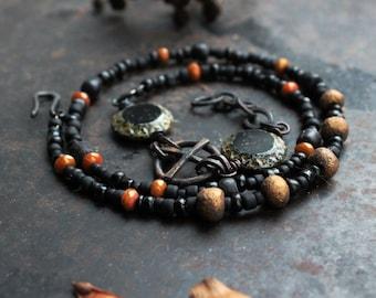 Solar cross bracelet, wrap amulet bracelet, black triple bracelet, rustic sun cross bracelet, gold colored bracelet, norse bracelet