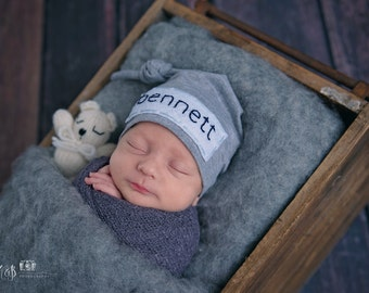 newborn personalized hat- personalize newborn -heirloom gift for baby -baby boy hat -baby girl hat -newborn name hat -knot hat -hospital hat