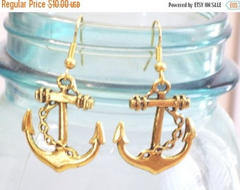 Gold Anchor Earrings, Antiqued Gold Plated Ship Anchor Earrings, Nautical Earrings, Nautical Jewelry, Gold Beach Earrings, Gold Nautical