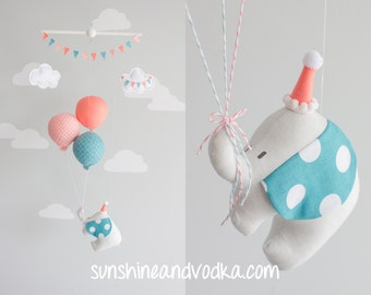 Elephant Baby Mobile, Teal and Coral Balloon Mobile, Travel Theme Nursery Decor, i101