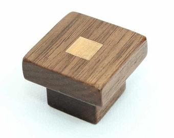 Dark Wood Cabinet Knob Walnut Wood Knob Modern Cabinet