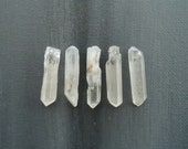 Quartz Crystals 5 Raw Clear and White Points 28mm - 29mm x 6mm - 7mm Rough Natural Tibetan Stones (Lot 9841)