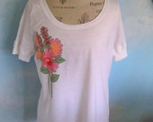 White T shirt, Size Large, floral spring flowers, hand painted, flower shirt, country girl, White Tee shirt,