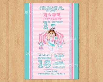 Girl Circus Invitation Girl Carnival Invitation Girl Circus Invite Carnival Invite girl 1st birthday party invitation circus themed party