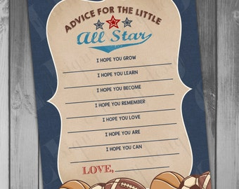Baby Shower Advice Card Baby Shower Games Sports Baby Shower Boy Baby Shower All Star Baby Printable Baby Shower Printable Advice