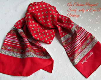Elorian Original Long Neck Scarf Red Floral Print Vintage