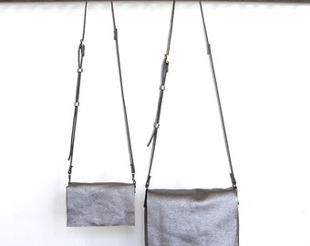 Messenger Bag - Two sizes - Italian Leather - Gun Metal