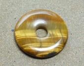 Gemstone Donut Pendant, Natural Tigereye Stone, Tiger Eye, Golden Brown, Shiny Sheen, 35mm, Striped Matrix Lines, Craft Supplies