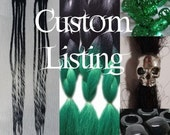 Custom Order for (pamfstiles) 2 x Black Green Clip in Dread Hair Extensions with Beads