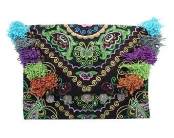 Green Pattern Clutch With Bells & Thread Embroidered Fabric (BG306WH.115)